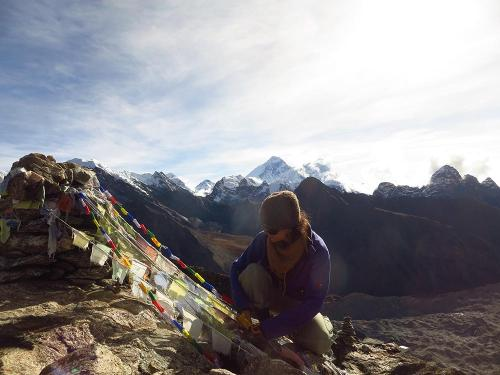 Everest Region. Gokyo Ri Summit with Everest behind